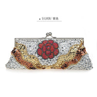 Noble Gold Womens Wedding Evening Bag Beaded Sequined Clutch handbag Mujer Bolso Stylish Bride Party Purse Makeup Bag 2518 - On Trends Avenue