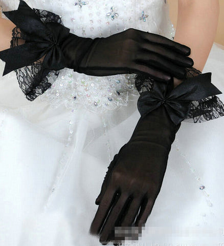 Women's lace gloves bow lace gloves sexy formal dress mesh gloves black red white color - On Trends Avenue