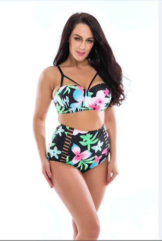 New Floral Print High Waist Swimsuit Push Up Bikini Plus Size Swimwear Women Cut Out  Bikinis For Famme Large Sizes 3XL - On Trends Avenue