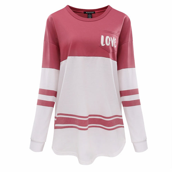 Rogesi 2017 Fashion T-shirt Long Sleeve T Shirt Women Tops Female Tumblr Blusa Pink Kawaii Womens Clothing Top Tees AAAAA Cotton - On Trends Avenue