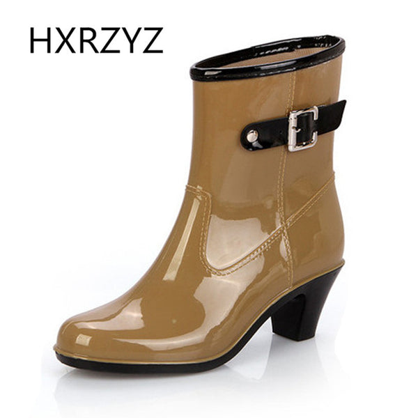 Summer Women's Rain Boots Lady Waterproof Anti-skid High Heel Shoes Women Casual Single Boots Fashion Black Rain Boots - On Trends Avenue