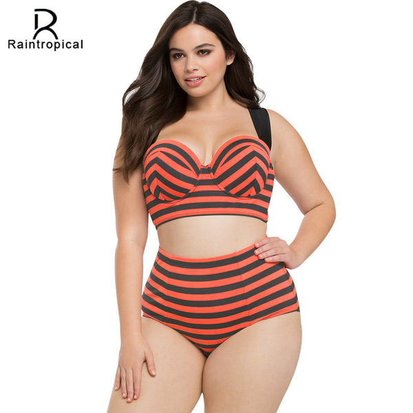 Big Bold and Beautiful High Waist Plus Size Underwire Bikini 2 - On Trends Avenue