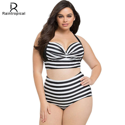 Big Bold and Beautiful High Waist  Plus Size Underwire Bikini - On Trends Avenue