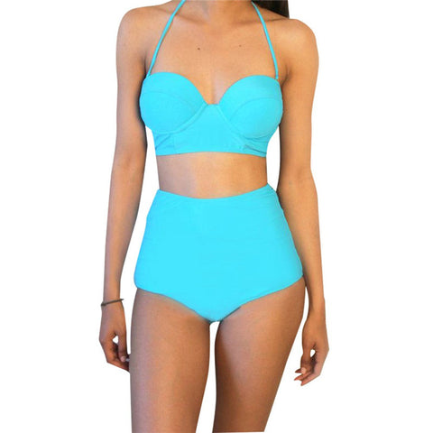 Sexy Women Bikini Set Swimsuit Push-up Padded Bandeau Top High Waist Bottoms - On Trends Avenue