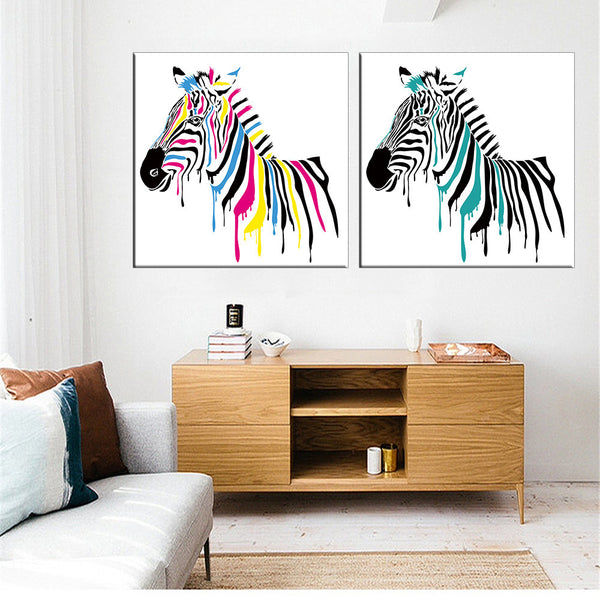 Abstract Horse Oil Painting Canvas Wall Art Canvas Print Home Decoration Picture Wall Painting for Living Room Unframed 2 Pcs - On Trends Avenue