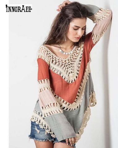 Summer Style ZANZEA Women Boho V-Neck Long Sleeve Hollow Bikini Cover Up Casual Loose Patchwork Blouses Tops NS2054 - On Trends Avenue