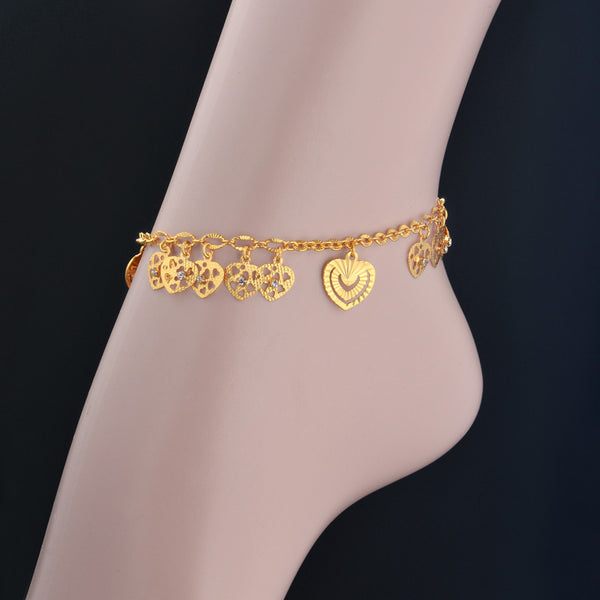 Anklet Bracelet On Leg Gold Plated Heart Love Gift Summer Jewelry Anklet Bracelet Foot Jewelry New Hot Punk - On Trends Avenue