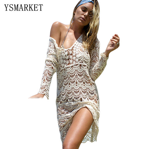 Summer New Women Elegant Long Sleeves Cream Flowery Crochet Long Beach Dress 2017 Sexy Hollow Out Swimwear Beach Cover Up Q42132 - On Trends Avenue