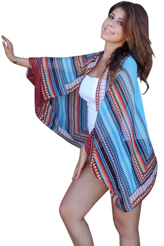 New Summer Style Cardigan Chiffon Ethnic Print Beach Cape Cover-up Blusas Mujer Dual use Oversized Ladies Scarves 42070 - On Trends Avenue