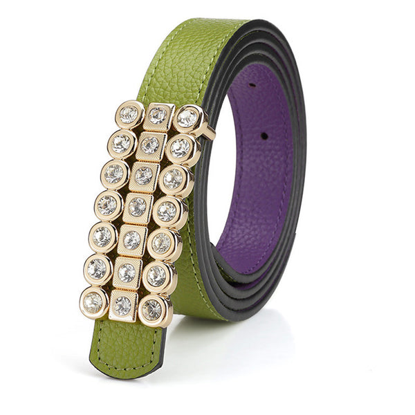 Ladies Famous Female Strap Brand Designer High Quality Diamond Women Belts Waist Luxury Belt for Dress Jeans Pants Green - On Trends Avenue