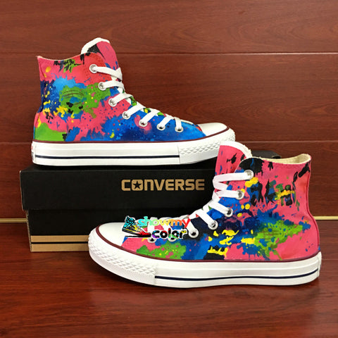Colourful Splashed Ink Original Converse Chuck Taylor Women Men Shoes Design Hand Painted Sneakers Skateboarding Shoes