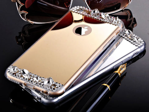 Hot! Gold Bling Glitter Diamond Soft Electroplating TPU Phone Case For iPhone 6 6S 7 5se / 6 6s 7 Plus Silicone Back Cover - On Trends Avenue