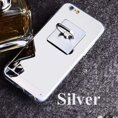 "Hot Mirror Soft Clear TPU Phone Cases With Metal Ring Holder For iphone 6 / 6S 4.7"" / 6 Plus 5.5"" 5 5s Back Cover - On Trends Avenue"