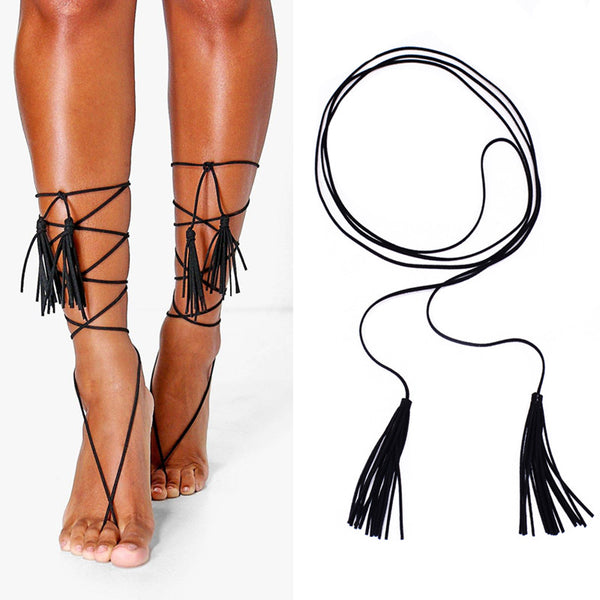 Boho Faux Suede Leather Anklet Leg Chain Vintage Multilayer Tassel Barefoot Sandal for Women - On Trends Avenue