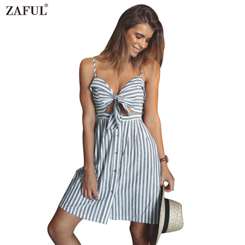 ZAFUL women summer dresses Cotton and linen Backless strapless spaghetti strap dress Blue striped casual Feminino vestidos - On Trends Avenue