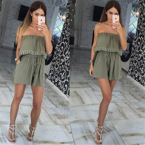 Summer women Jumpsuits leisure sexy strapless chest wrapped piece shorts Fashion rompers Women jumpsuit Solid Playsuits - On Trends Avenue