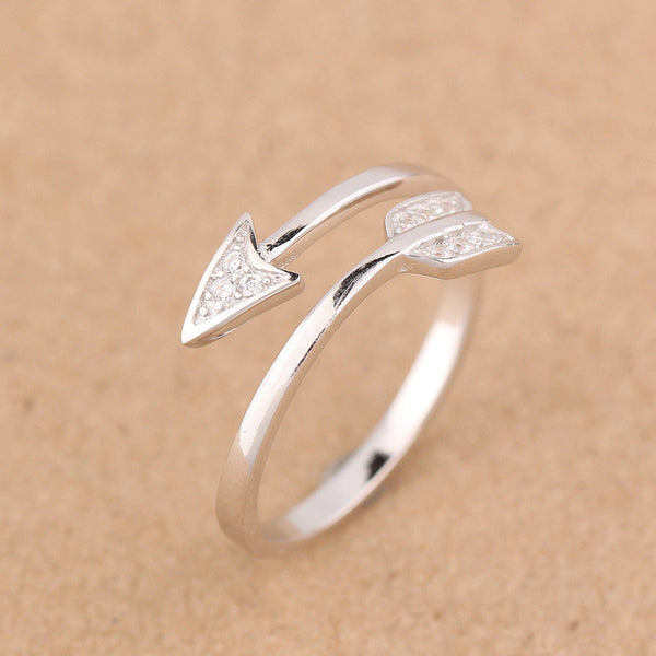 Real 925 Sterling Silver White jewelry CZ Paved Love Arrow Design Midi Toe ring Finger Ring adjustable Women Men GTLJ675 - On Trends Avenue
