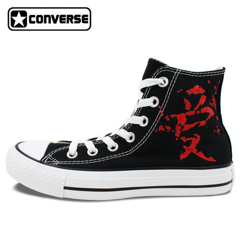 Converse Chuck Taylor Man Woman Shoes Anime Naruto Shippuuden Gaara Love Design Hand Painted Shoes High Top Boys Girls Sneakers