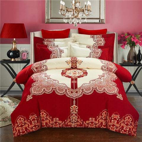 Svetanya Wedding Red Bedlinen Print Bedding Sets Queen King Size 100% Sanded Cotton - On Trends Avenue