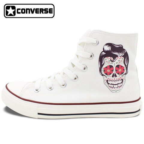 Men Women Converse Chuck Taylor White Canvas Shoes Femal Male Mexican Skull Tattoo High Top Sneakers Gifts Birthday Presents