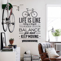 Life Is Like Riding A Bicycle Balance Bike Sport Quotes Words DIY Vinyl Wall Art Sticker Wallpaper Mural Home Decoration 60x95cm