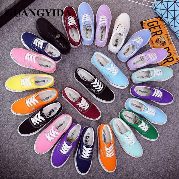 New Women Canvas Shoes Lace up Fashion brand casual shoes Flats Solid Women Breathable shoes woman Drop Shipping ST40 - On Trends Avenue