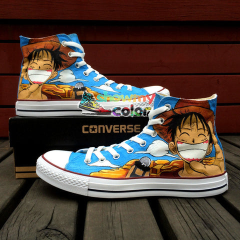 One Piece Men Women Converse Chuck Taylor Anime Shoes Luffy Design Hand Painted High Top Blue Canvas Sneakers Cosplay Gifts