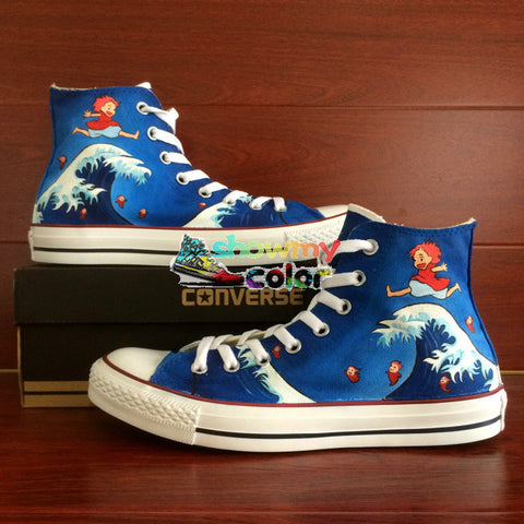 Anime Women Men Converse Chuck Taylor Blue Shoes Man Woman Ponyo Design Custom Hand Painted Sneakers Miyazaki Hayao