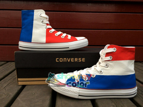 Converse Chuck Taylor Men Women Shoes Custom France Flag Original Design Hand Painted Shoes Woman Man Sneakers Christmas Gifts