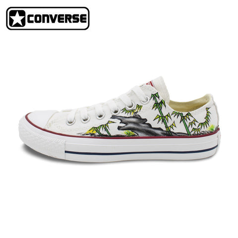 Low Top White Converse Chuck Taylor Women Men Shoes Bamboo Original Design Hand Painted Shoes Man Woman Canvas Sneakers