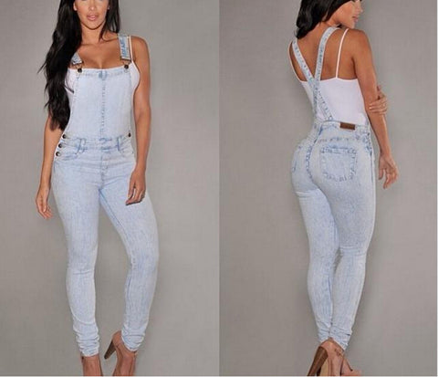 Women Strap Jeans Rompers Fashion Casual Denim Long Pants Overalls Ladies Sexy Sleeveless Party Jumpsuits - On Trends Avenue