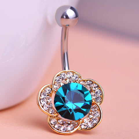 Blucome Austran Crystal Flowers Body Jewelry Piercings Green Zircon Navel Belly Rings Button Piercing Bijoux - On Trends Avenue