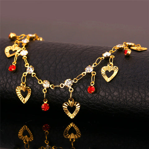 Hot Rhinestone Heart Anklets For Women Foot Jewelry Yellow Gold Plated Fashion Link Chain Ankle Bracelet Barefoot Sandals A887 - On Trends Avenue