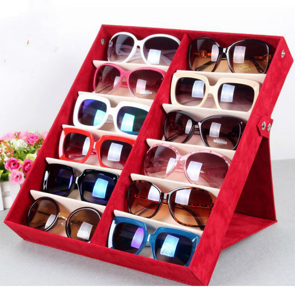 Quality glasses storage box 12 grid deerskin sunglasses display box Sunglass Organizer Box Eyewear Storage Usage 12 Compartment - On Trends Avenue