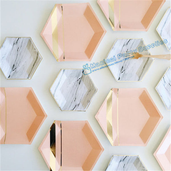 72pcs Hexagon Paper Plates Pastel Pink Marble & Gold Foil Hexagon Small Party Paper Plates for  Baby Shower Birthday Party Decor - On Trends Avenue