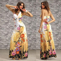 2017 New Sexy Diamond Beach Long Dress Big Swing Chiffon Halter Backless Dress V Neck Print Floral Floor Length Dresses Vestido - On Trends Avenue