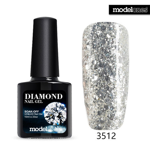 Modelones Professional UV Gelpolish Diamond Glitter UV Nail Polish Nail Art Manicure UV Nail Gel Polish Soak Off Sequins Gel - On Trends Avenue