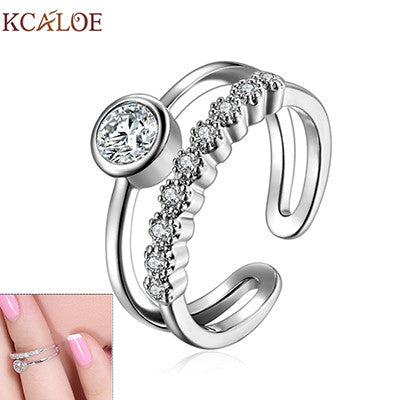 New Arrival Finger Joint Knuckle Ring Adjustable Rose Gold Toe Midi Set Silver Plated Zehenringe Cute Finger Nail Ring - On Trends Avenue