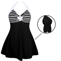 Aleumdr One-piece Playsuit Swimwear Beach Wear Girls Swim Dress with Bottom Romper Women Swimsuit Monokini Bathing Suits 41923 - On Trends Avenue