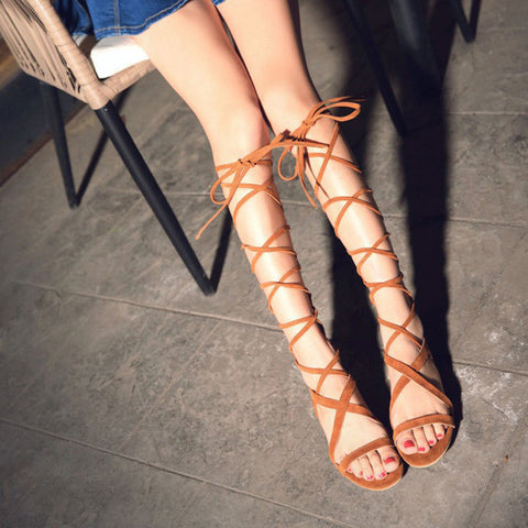 New Bandage Women Sandals Boots Flat Summer Shoes Woman Large Size Knee High Gladiator Sandals Plus Size EU34-43 WSH2029 - On Trends Avenue