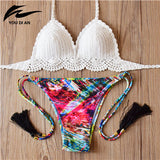New Arrival Crochet Bikini Sets Women Pure Handmade Top Sexy Halter Swimwear Floral Print Biquini Low Waist Swimsuit - On Trends Avenue