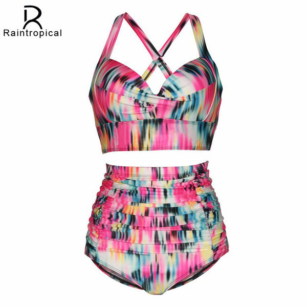 2017 New Plus Size Swimwear Large Sizes Swimsuit High Waist Bikini Women Beach Wear Push Up Bathing Suit Maillot De Bain Femme - On Trends Avenue