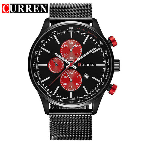CURREN Watches Luxury Brand Mens Watch Big Face Gold Mesh Quartz-Watch Casual Male Sports Wristwatch Date Clock Relojes 8227