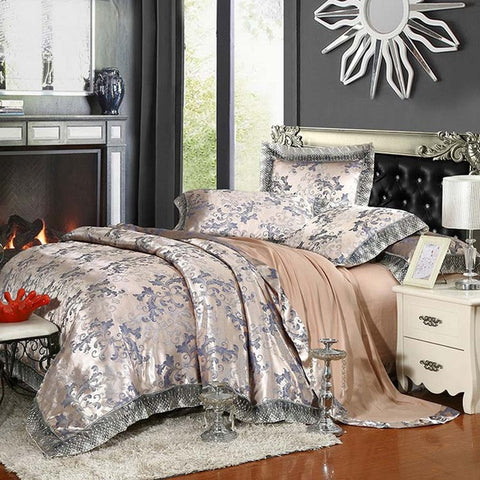 Luxury Silk Bedding Set Embroidery Bed Linens Tencel Satin Bed Sheet Set Jacquard Bedclothes Queen/King Size Bed cover 4/6pcs - On Trends Avenue