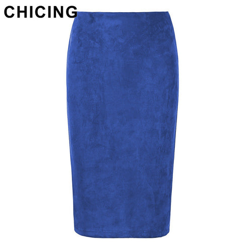 CHICING Women Suede Multi Color Pencil Midi Skirt Female Winter Basic Tube Bodycon Skirts Saia Femininas A1609022 - On Trends Avenue