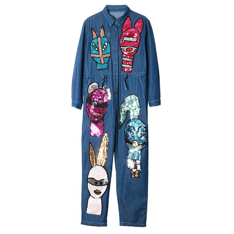 Autumn Brand Personality Denim Jeans Siamese Jumpsuit Women Cartoon Sequined Jumpsuit Long Sleeve Rompers 1685 - On Trends Avenue