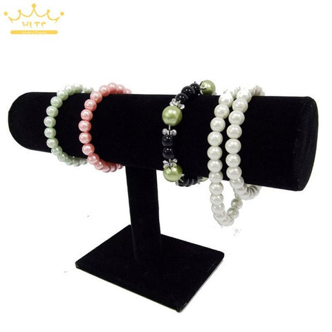 Portable Organizer Black Velvet Bracelet Bangle Necklace Chain Watch T-Bar Rack Jewelry Display Stand Holder Rack - On Trends Avenue