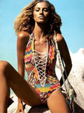 Sexy Crochet One Piece Swimsuit Hollow Out Monokini Swimsuit Women Lace Up Front Beachwear Bathing Suits Maillot De Bain