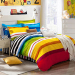 bedding sets 4pcs stripe duvet quilt cover for king queen full twin size bedclothes 100%cotton cartoon bed linen kids bedsheet - On Trends Avenue