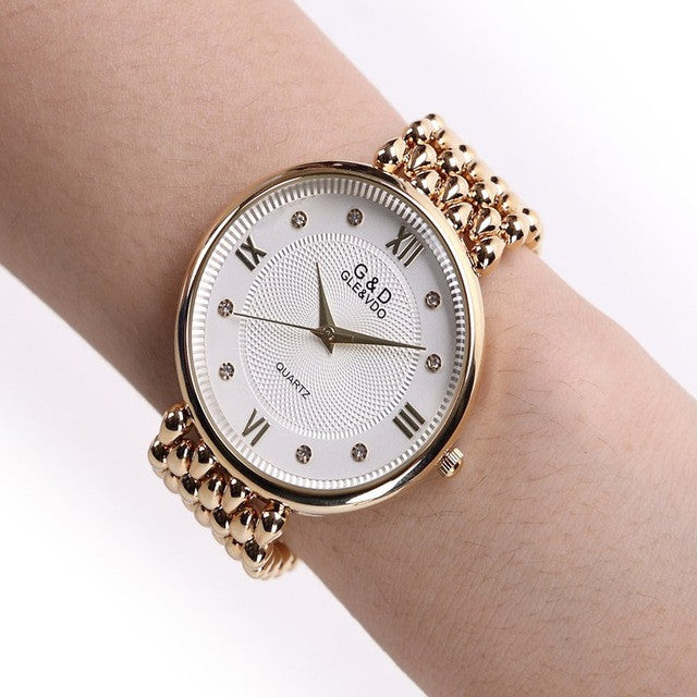 Classic Luxury Gold Plated Steel Quartz Dress Watches For Women Fashion Casual Watch Women Wristwatch - On Trends Avenue